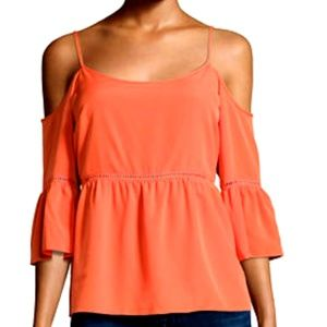 1. State Cold Shoulder Ruffled Blouse Sz M Orange